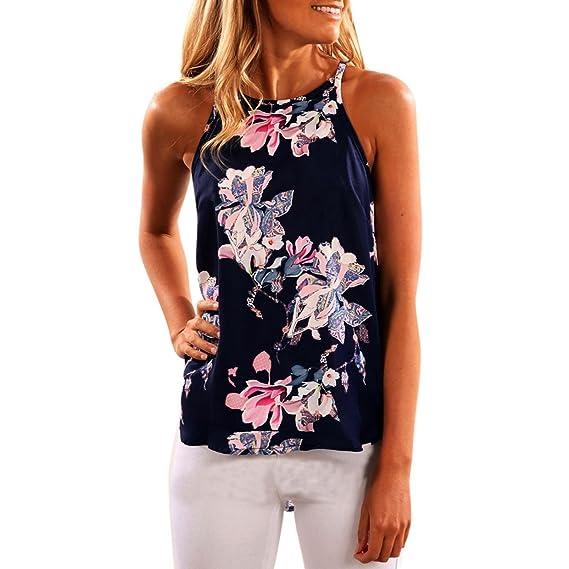 Camisetas Mujer EUZeo❤ Tirantes Floral Impreso Blusa Camiseta con Estampado de Flores ❤️