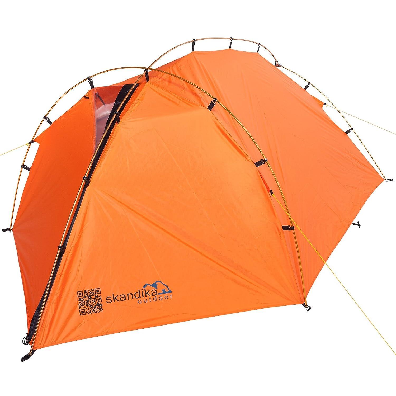 Skandika Trekking-Zelt Glacier Trek 2 Personen Aluminium-Gestänge Wassersäule, Hell Orange, 3000 mm, 16059
