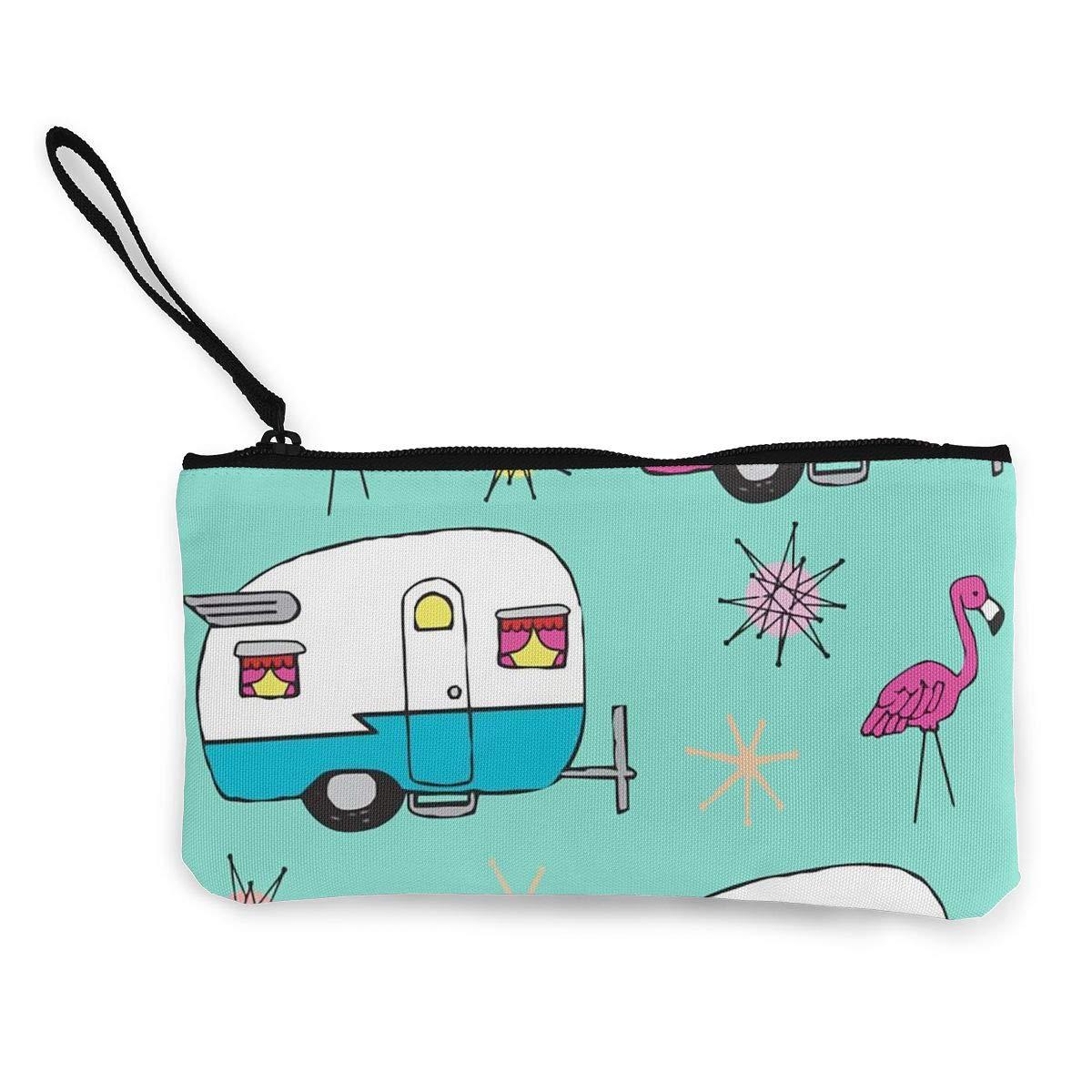 Amazon.com: Happy Camper Flamingos Cartoon Monedero de viaje ...