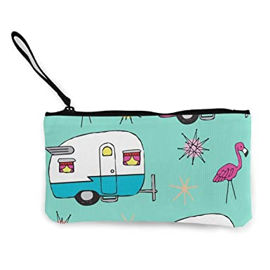 Amazon.com: Happy Camper Flamingos Cartoon Monedero de viaje ...