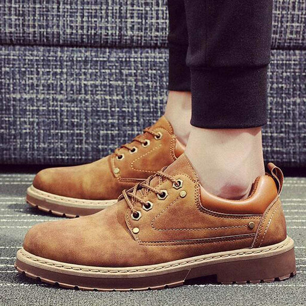 【MOHOLL】 Mens British Style Casual Shoes Low-Top Non-Slip Wear-Resistant Tooling Shoes Oxford Leather Shoes