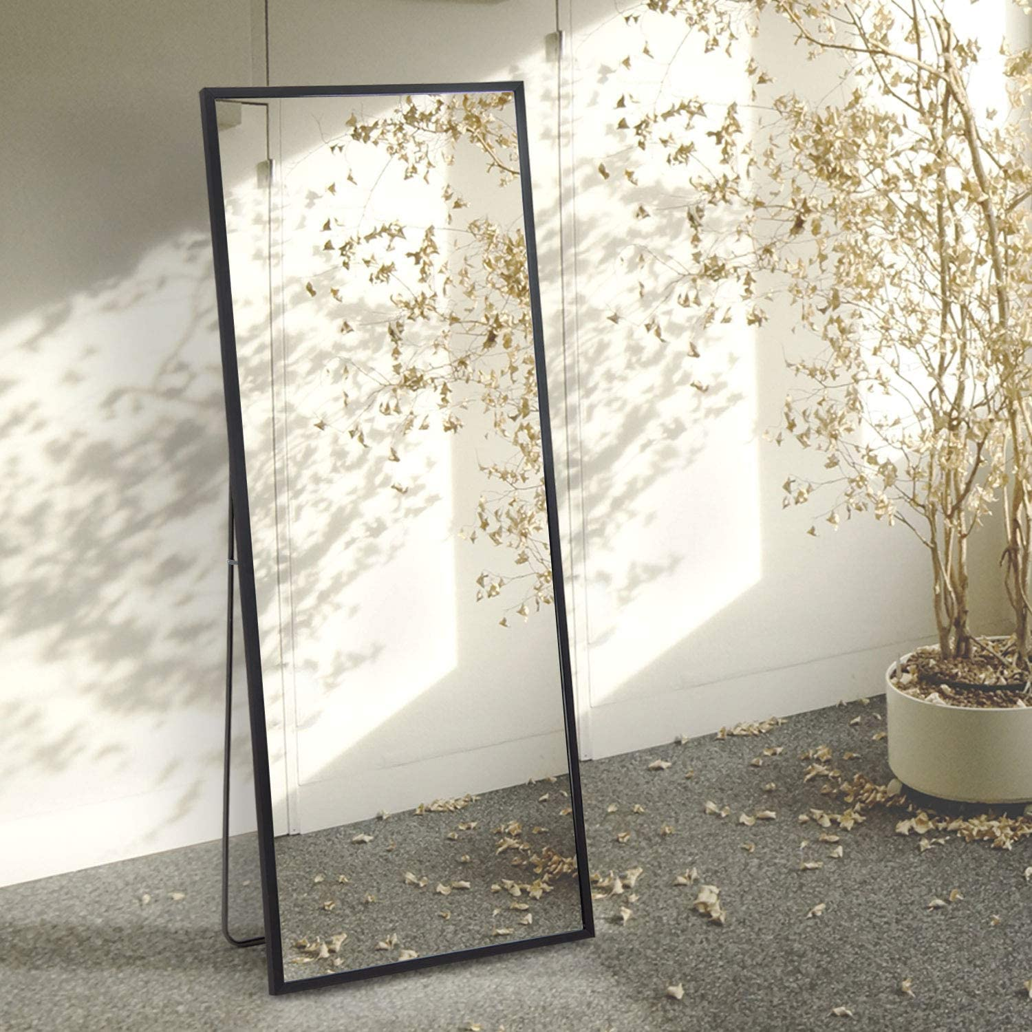"""Beauty4U Full Length Mirror Floor Mirror Dressing Mirror Standing or Leaning, Bedroom Mirror with PS Frame, 65"""" x 23.6"""", Black"""