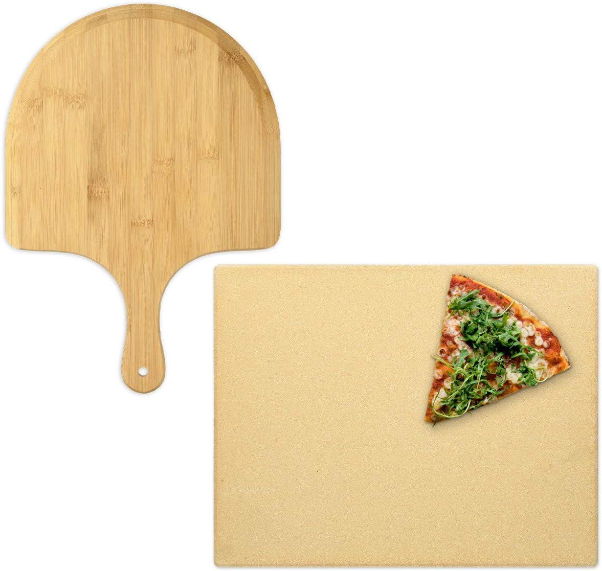 Navaris Pierre /à Pizza avec Pelle Kit Pierre /à Pizza Rectangulaire XL avec Pelle en Bambou Four Traditionnel Bois Barbecue Grill et Charbon