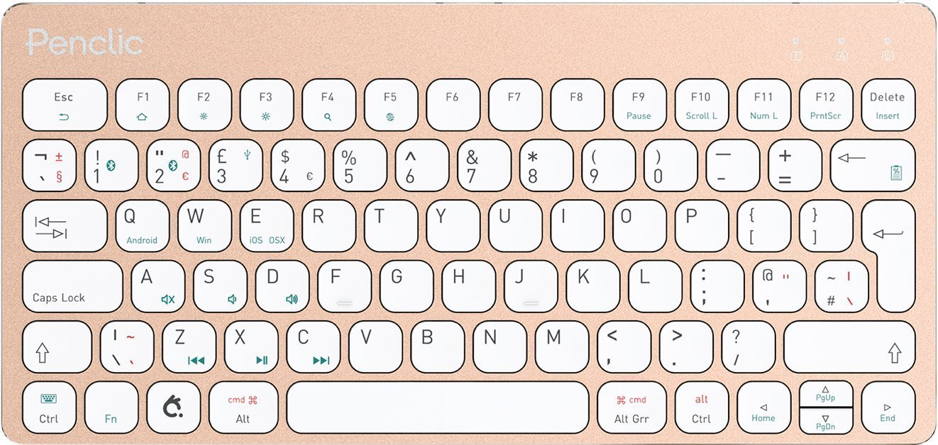 Amazon.com: Penclic KB3 Wireless Bluetooth Ergonomic Mini Keyboard for Mac, iPad, iPhone, Windows OS, Linux, Apple TV, Samsung TV, Brushed Aluminum: ...