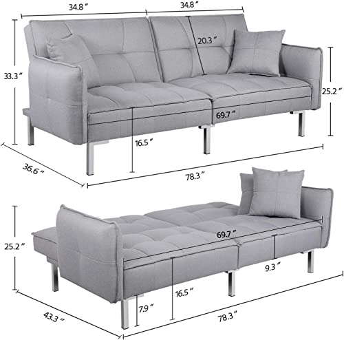 YAHEETECH Ergonomic Futon Sofa Bed Foldable Convertible Sleeper Bed Couches Versatile Futon with Sturdy Futon Wood Frame Linen Metal Legs Gray