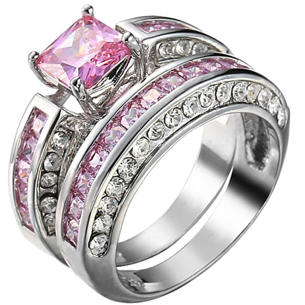 XAHH Jewelry Womens 2 pcs 925 Sterling Silver Plated Pink Cubic Zirconia Wedding Engagement Ring Set 7
