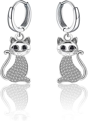 Hollow Cat Multicolor Cubic Zirconia Animal Ring Earring Fashion Jewelry Set