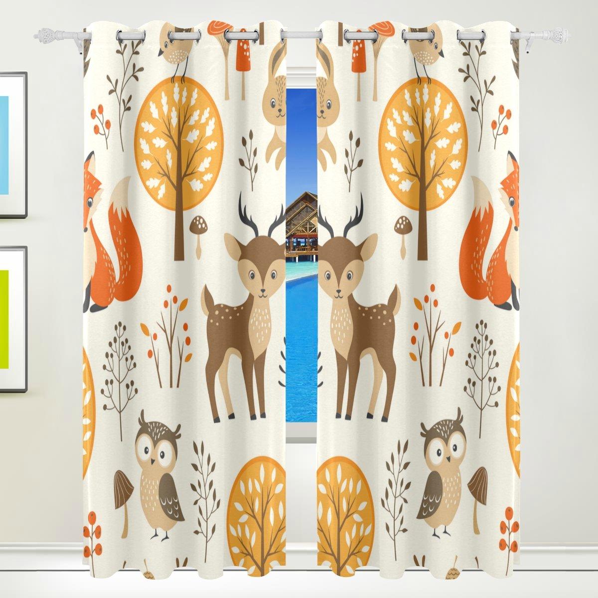 Vantaso Window Curtains 84 Inch Long Cute Forest Animal Owls Fox Deer for Kids Girls Boys Bedroom Living Room Polyester 2 Pannels