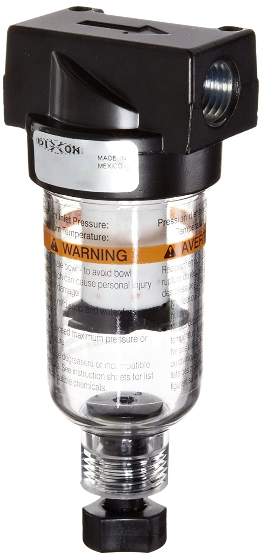 1//4 Size 24 SCFM Flow Dixon F03-02M Manual Drain Wilkerson Miniature Filter with Transparent Bowl 150 psig Pressure