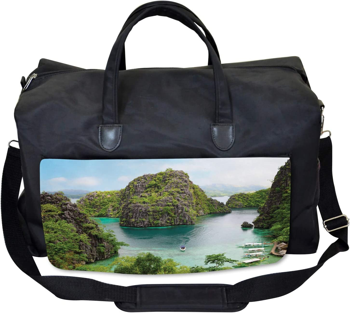 Cliff in Philippines Large Weekender Carry-on Ambesonne Landscape Gym Bag
