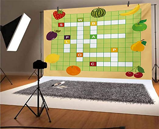 Word Search Puzzle 8x10 FT Photo Backdrops,Classical Crossword Puzzle with Black and White Boxes and Numbers Background for Baby Birthday Party Wedding Vinyl Studio Props Photography Black and White