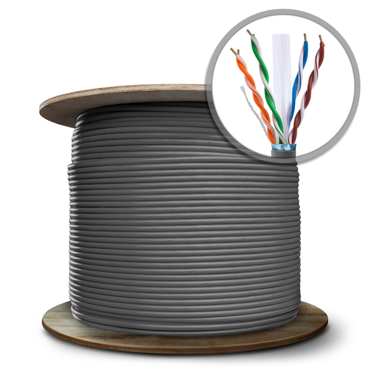 GearIT 1000 Feet Bulk Cat6 STP Ethernet Cable - Solid Twisted Pair - Cat 6 Shielded 550Mhz 24AWG Full Copper Wire Spool - In-Wall Rated (CM), Gray