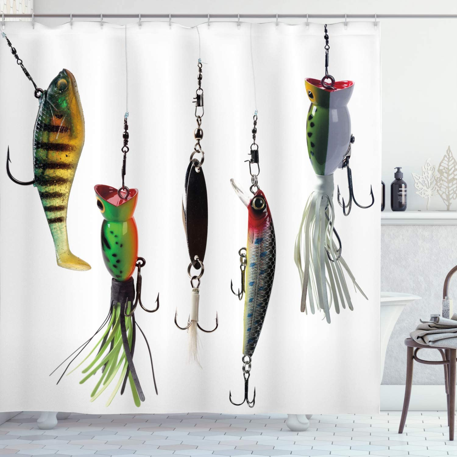 Ambesonne Fishing Shower Curtain, Various Type of Fishing Baits Hobby Leisure Passtime Sports Hooks Catch Elements, Cloth Fabric Bathroom Decor Set with Hooks, 84