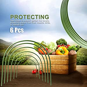 MADEI 6pcs Greenhouse Hoops Rust-Free Grow Tunnel Farm Plant Hoop Garden Tunnel Hoop Household Arch Shape Frame Holder Garden Stakes