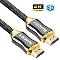 4K HDMI Cable, HDMI Cable 3M High Speed Ultra HD 4K 2160p Pro Series with Nylon Crystal Net Zinc Alloy Hood Gold Plated Connector Compatible with PS4|Xbox 360|Mac|HDTV| Projector|TV Box (3m)