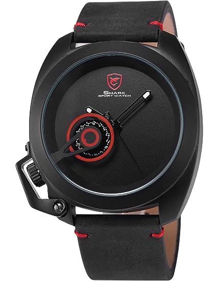 Shark SH446 - Reloj Hombre de Cuarzo, Correa de Cuero Negro: Amazon.es: Relojes
