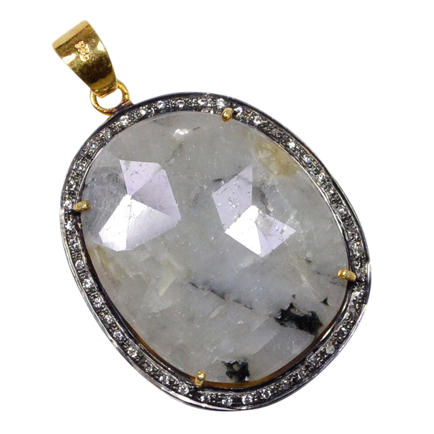 in 925 Sterling Silver Jaipur Rajasthan India Handmade Jewelry Manufacturer Wonder Sapphire /& Cubic Zirconia Gold Vermeil Prong Charm Pendant