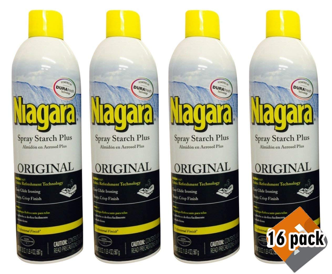 Niagara Spray Starch Crisp Finish, Sharp Look Without Excess Stiffness, 4 pack (16 count)