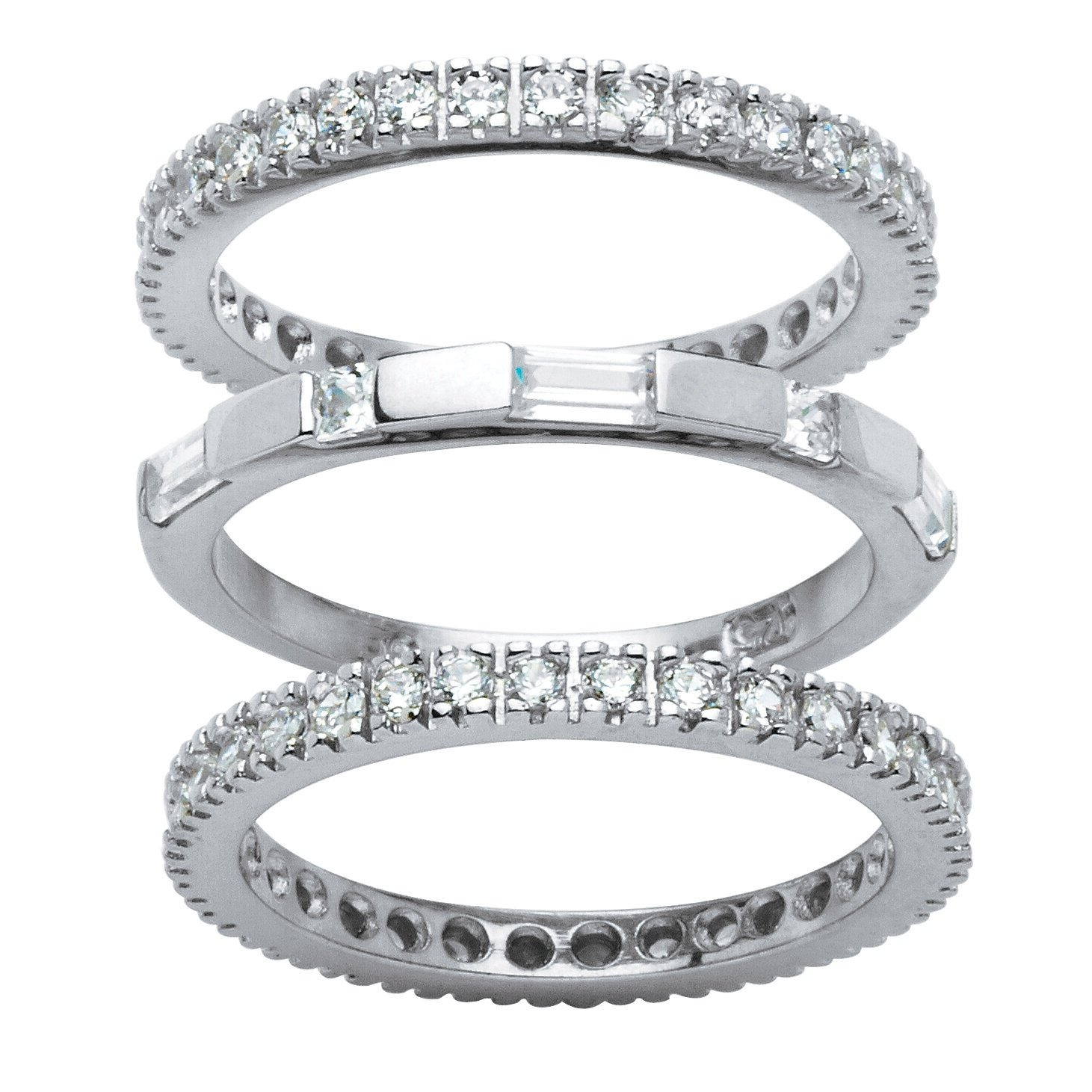 White Cubic Zirconia Platinum over .925 Sterling Silver 3-Piece Eternity Stackable Bands Set Size 6