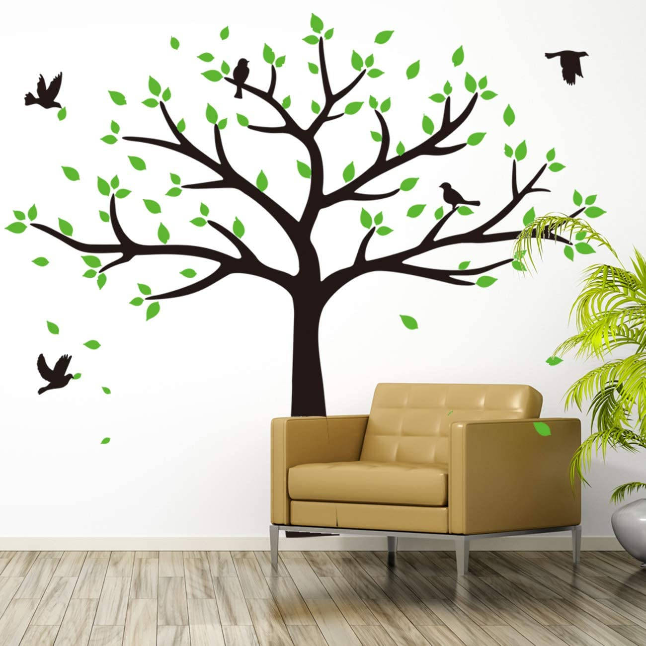 Giant Family Photo Tree Wall Decal Removable Wall Stickers for Baby Kids Room Decor (Black)