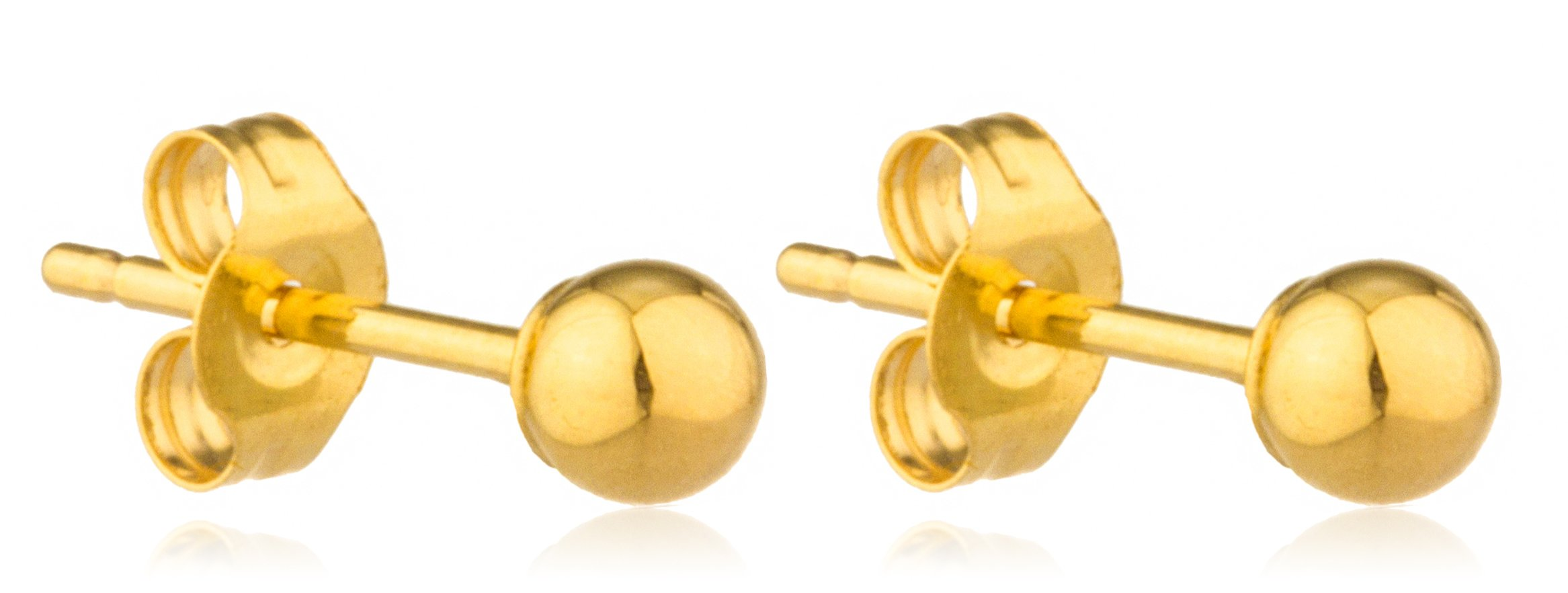 14k Yellow Gold Classic Ball Earring Studs with 14k Push Backs -2mm to 10mm Available (3 Millimeters) (GO-443 Metal Back)