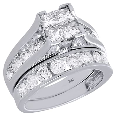 14k white gold quad princess round cut diamond 2 piece engagement ring wedding band - 2 Piece Wedding Rings