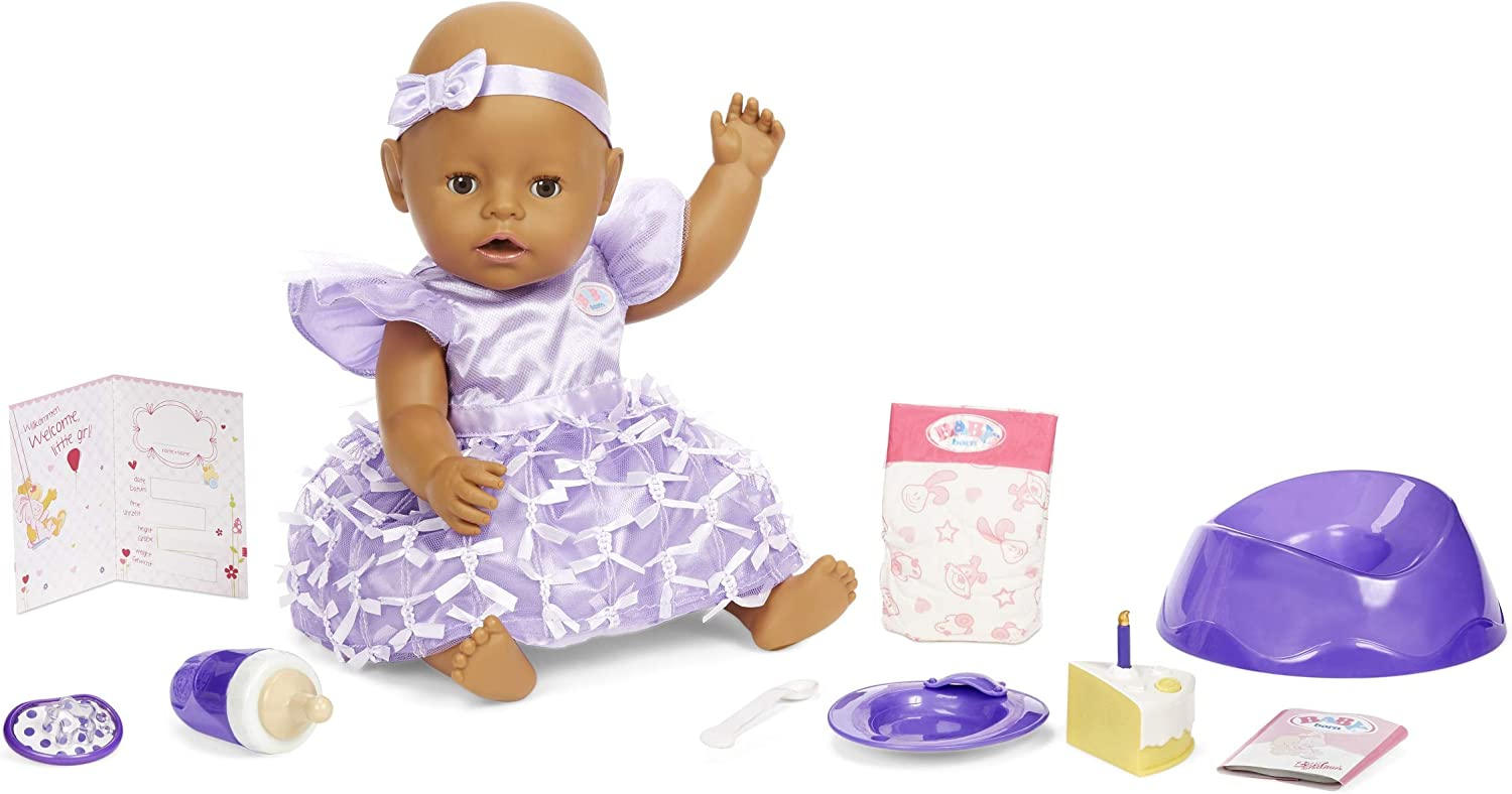Baby Born Interactive Baby Doll Party Theme – Brown Eyes with 9 Ways to Nurture, Multicolored