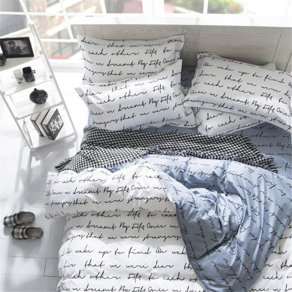 YEVEM Reversible White Grey Letters Print 3 Piece Kids Duvet Cover Set Full for Boys Girls Ultra Soft Bedding Cover with 2 Pillow Shams Zipper Closure, Full/Queen Size, Style 2