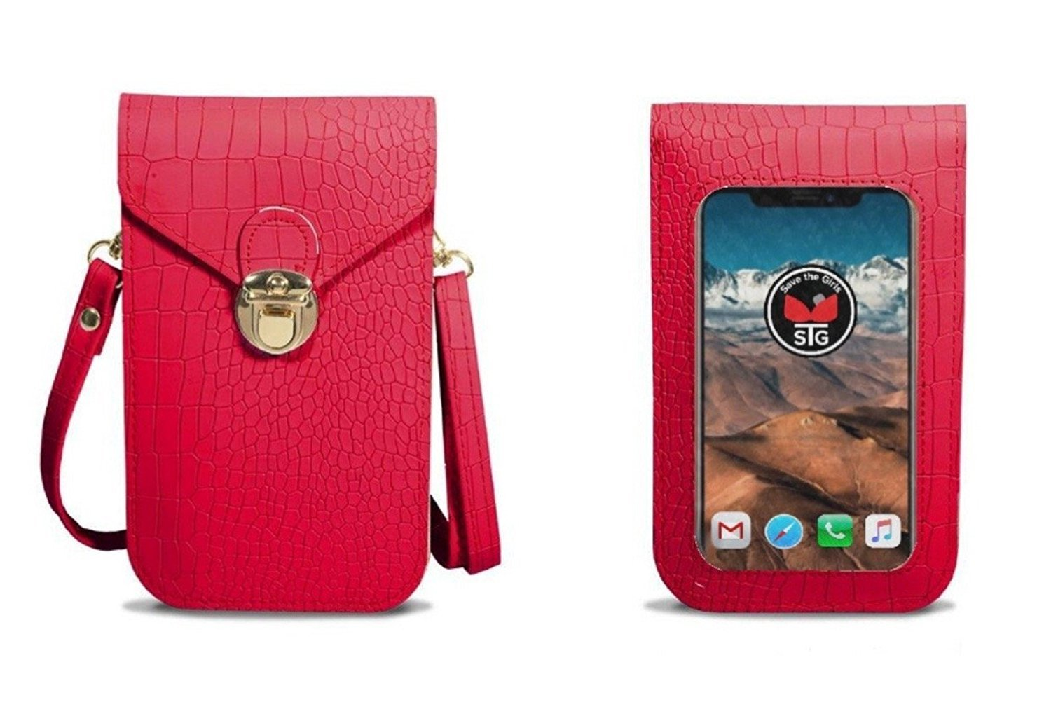 Gator Texture (Touch Screen) Cell Phone Purse - Christmas Red