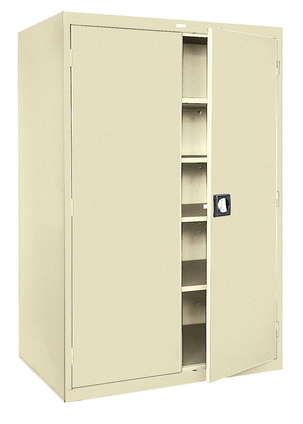 Sandusky Lee KDE7848-07 Putty Steel Powder Coat SnapIt Storage Cabinet, Keyless Electronic Coded Lock, 4 Adjustable Shelves, 78 Height x 48 Width x 24 Depth