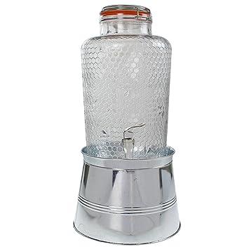 Glas Getränke Spender Set 8L – Getränkespender mit Metall Ständer ...
