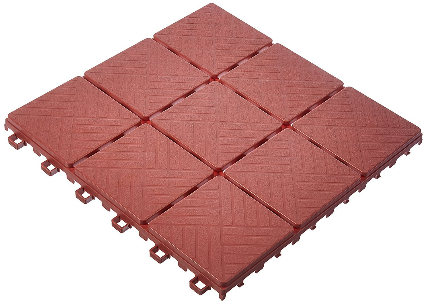 Imperial Home Interlocking Deck Tile Patio Pavers, 11 x 11 Easy Set Up Outdoor Walkway Pavers (Set of 12) (Brick Color)