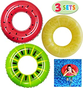 """JOYIN Inflatable Pool Floats 32.5"""" (3 Pack), Fruit Pool Tubes, Pool Toys for Swimming Pool Party Decorations"""