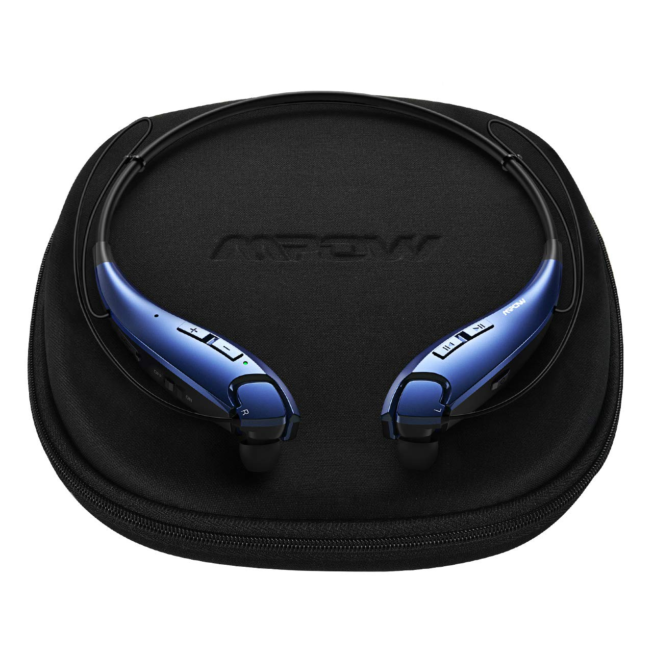 Mpow Jaws Gen-4 Bluetooth Headphones W Portable Case, Lightweight Wireless Neckband Headset W Call Vibrate, 13 Hours Playtime, CVC 6.0 Noise Cancelling Mic, Bluetooth Headset Magnetic, Blue