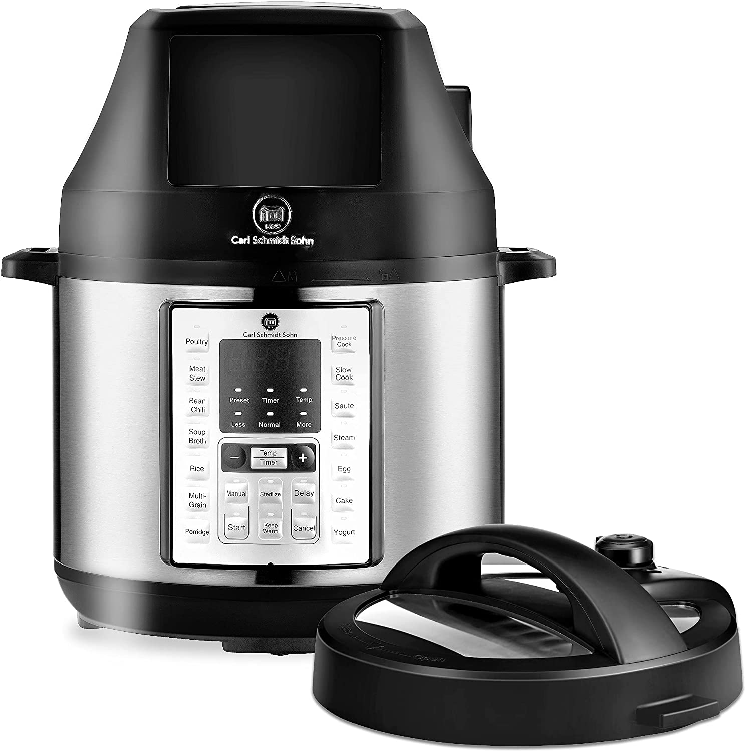 6.5Qt Pressure Cooker and Air Fryer Combos, 21-in-1 Programmable Pressure Pot with Detachable Pressure & Crisp Lid, LED Digital Touchscreen, 3Qt Air Fry Basket,Free Recipe Book, 1500W