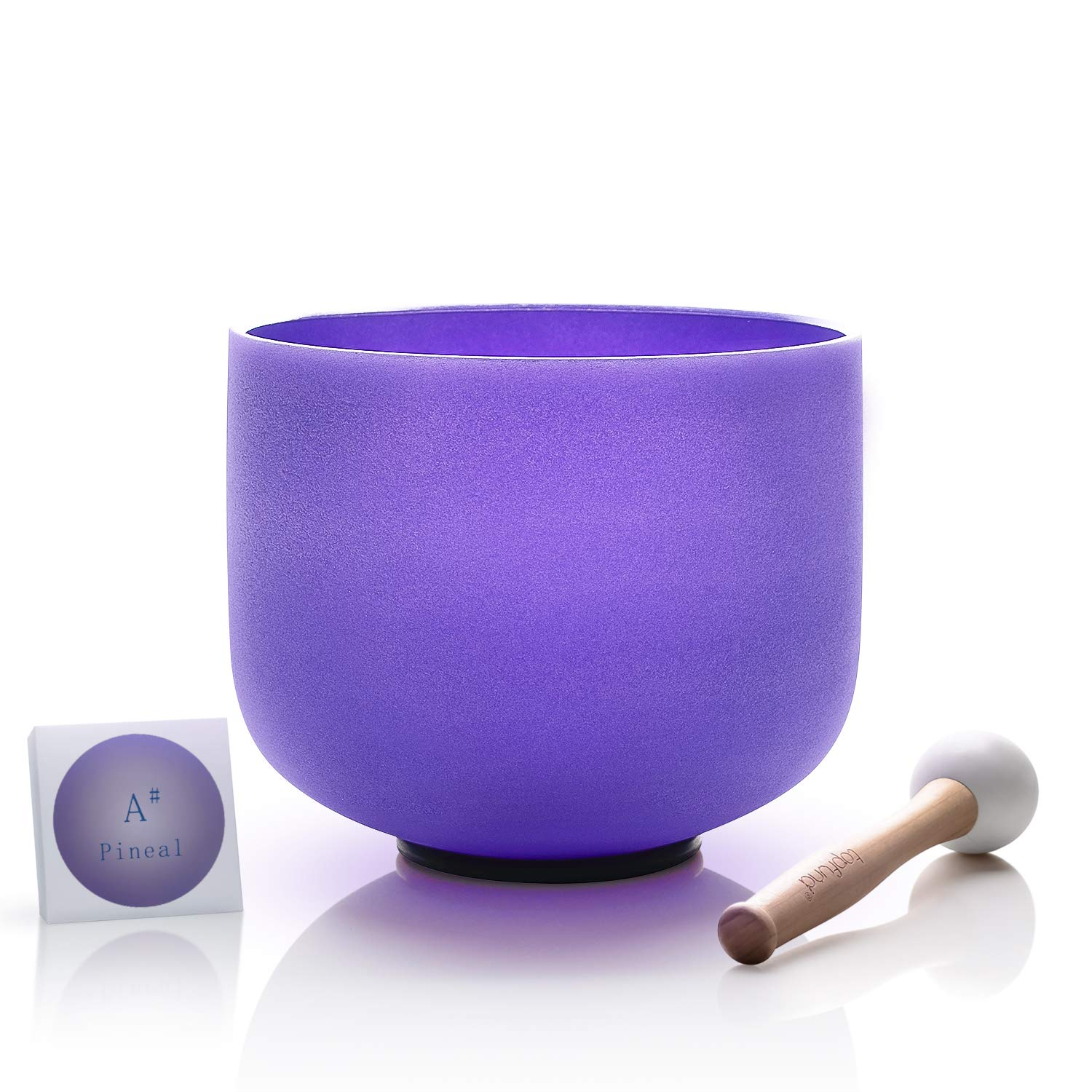 TOPFUND Crystal Singing Bowl Violet Color A# Note Pineal Chakra 8 inch,O-Ring and Rubber Mallet Included