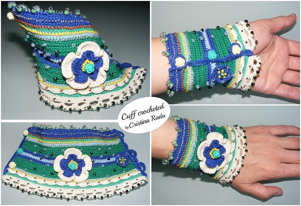 Crochet bracelet cuff bracelet Crochet jewelry Crochet gift for her Boho bracelet Crochet cuff Bohemian jewelry Boho cuff Statement bracelet