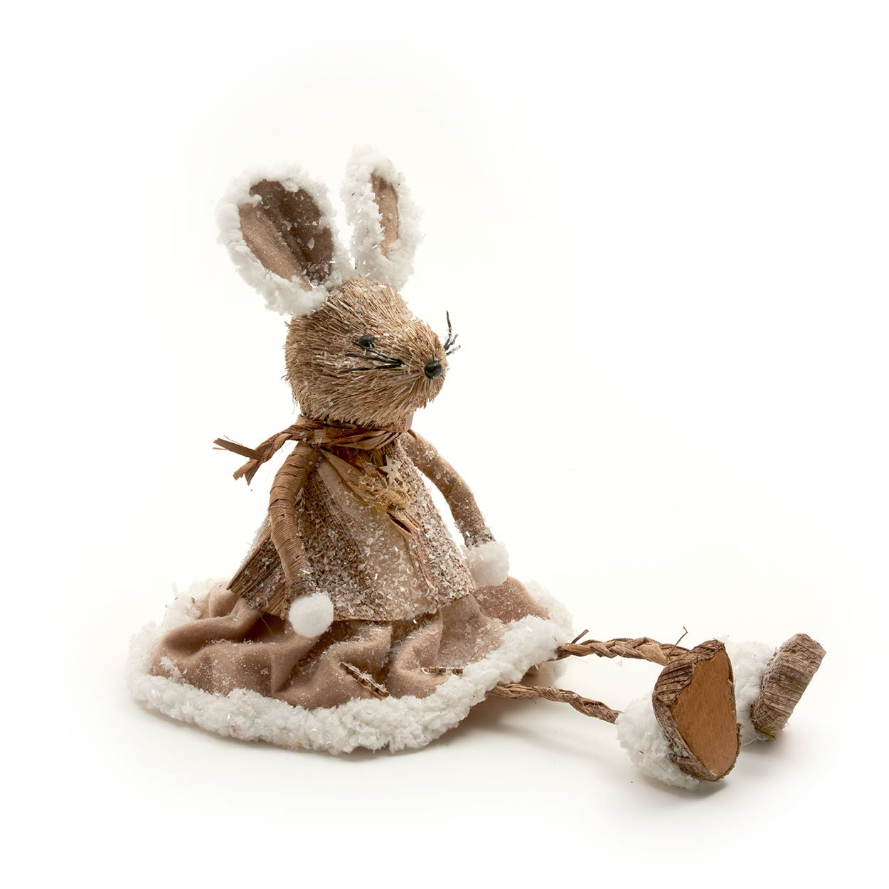 Bristle Mouse Christmas Figure with Fabric Skirt & Faux Fur Trim (40cm) Heaven Sends