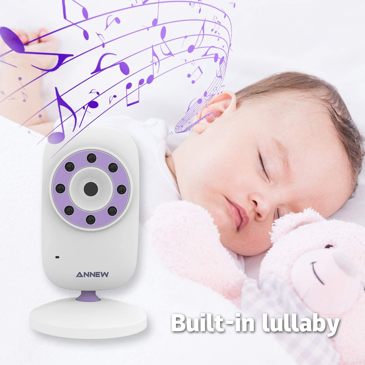 2 Cameras ANNEW Baby Monitor with Camera Video Baby Monitor Wireless 2.4 LCD Digital Screen for Two-Way Talk Infrared Night Vision Sound Activation Temperature Monitoring Lullabies Auto VOX