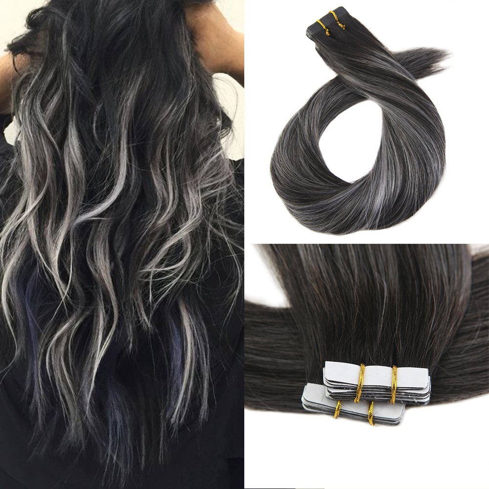 18 Inch Natural Black 1b To Gray Silver Moresoo 18 Inch 100g