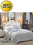 Elegant Comfort #1 Fleece Blanket on Amazon- Luxury Micro-Fleece Ultra Plush Chevron Pattern - All Season Blanket, Full/Queen, Grey