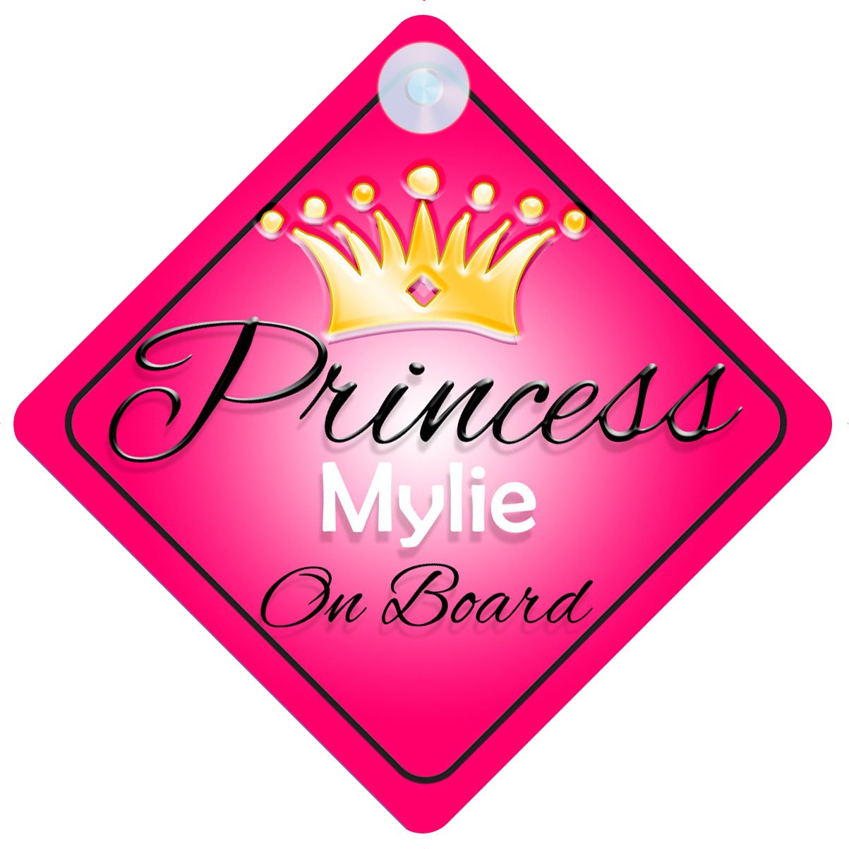 Child Gift 001 Princess Mylie On Board Personalised Girl Car Sign Baby