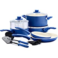 GreenLife Soft Grip Healthy Ceramic Nonstick Blue Cookware Pots and Pans Set, 12-Piece