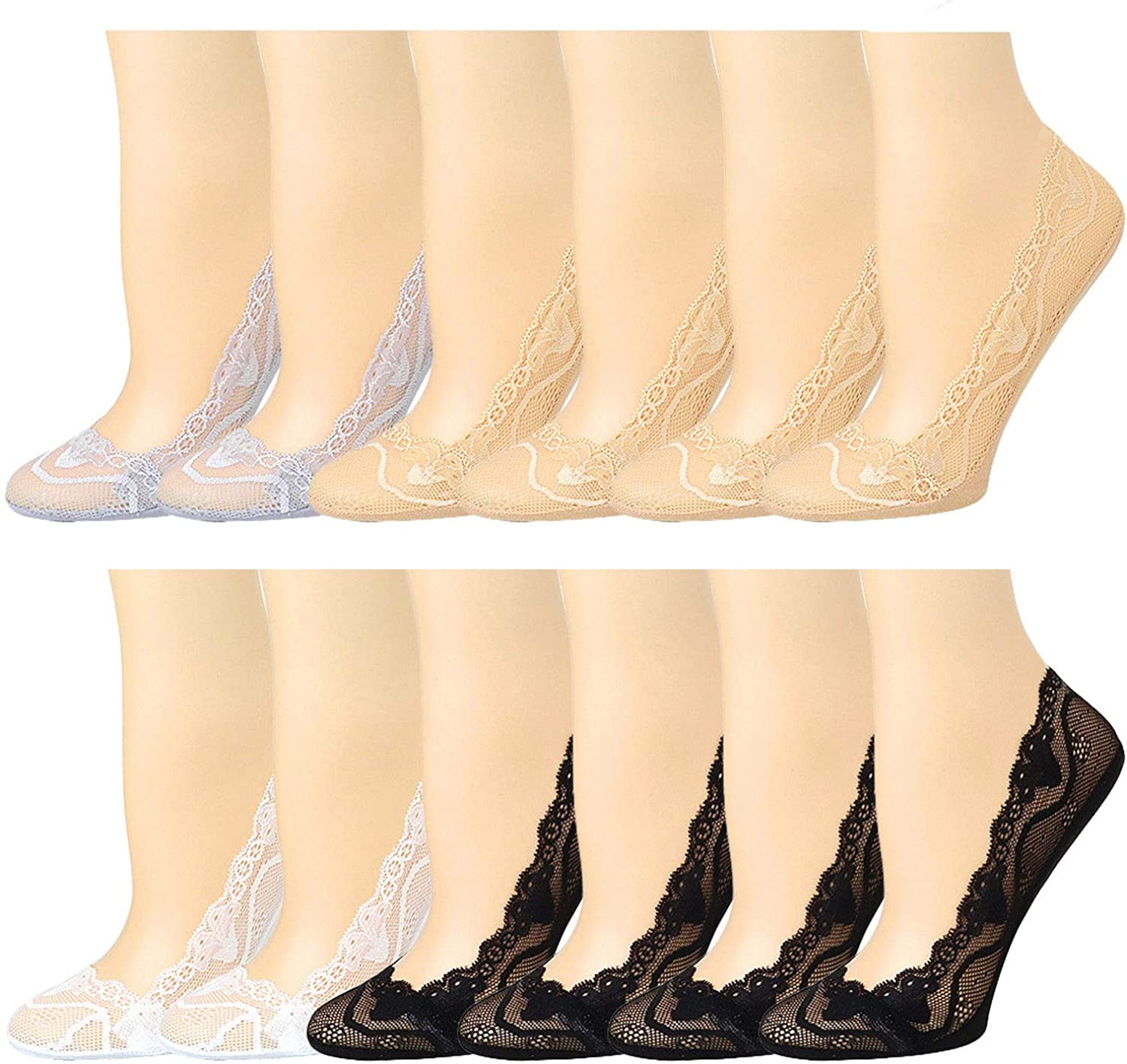 12 Pairs Women's Lace No Show Liners Socks Silicone Grip Non-Skid Boat Socks