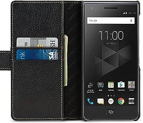 StilGut Talis Case Portafoglio, Custodia in Pelle Cover per Blackberry Motion. Chiusura Magnetica a Libro Flip-Case in Vera Pelle Fatta a Mano, Nero