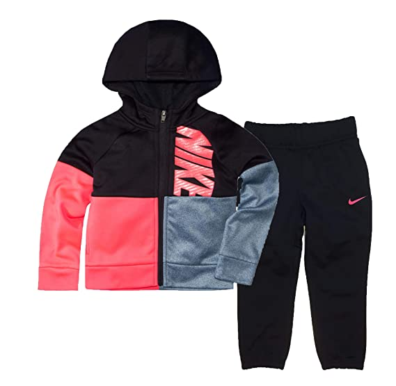 598c5004c Amazon.com: Nike Little Girls` Therma-Fit Full Zip Hoodie & Jogging Pants 2  Piece Set: Clothing