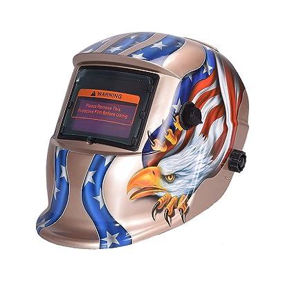 nuzamas funciona con energía solar auto oscurecimiento soldadura casco máscara de soldadura águila cara protección para
