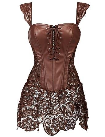 6e43aa10c71cee Beauty-You Damen Steampunk Korsett Kunstleder korsagenkleid Rock Kostüm