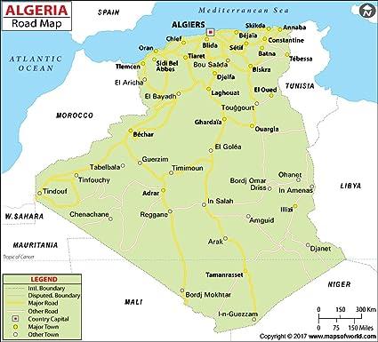 Algerien Highway Map – laminiert (91,4 cm W x 82,7 cm H ...