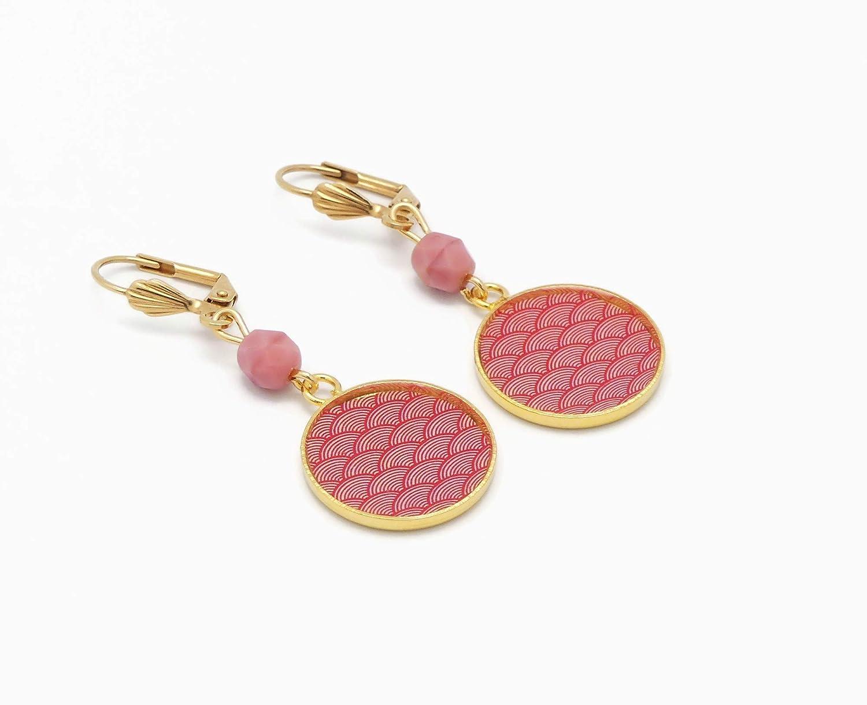 oro 24K pendientes latón seigaiha olas del mar rosa coral Japón cuentas de resina regalos personalizados regalo de Navidad cumpleaños invitados boda día de la madre parejas